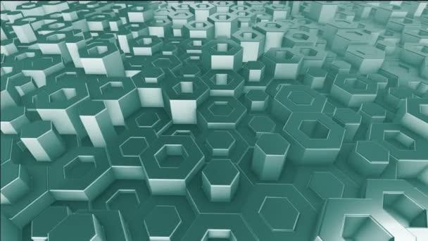 animierte 3D-Illustration eines grünen Hintergrundes aus sechseckigen Zylindern, die sich zufällig relativ zueinander bewegen