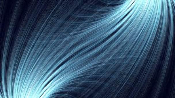 Animované abstraktní pozadí s modře zakřivenými četnými paprsky v podobě peří