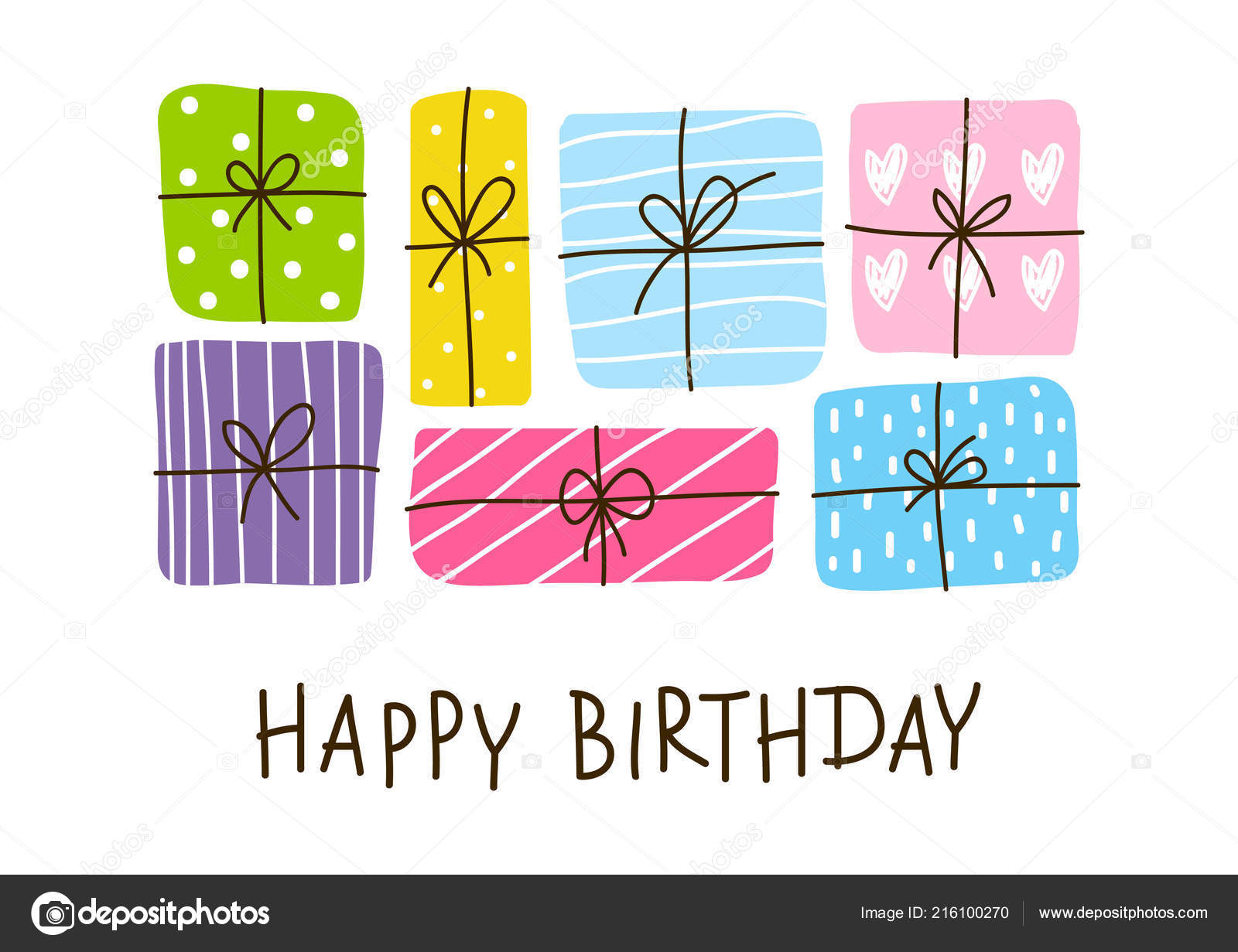 Birthday Greeting Card Color Gift Boxes Vector Illustration Stock