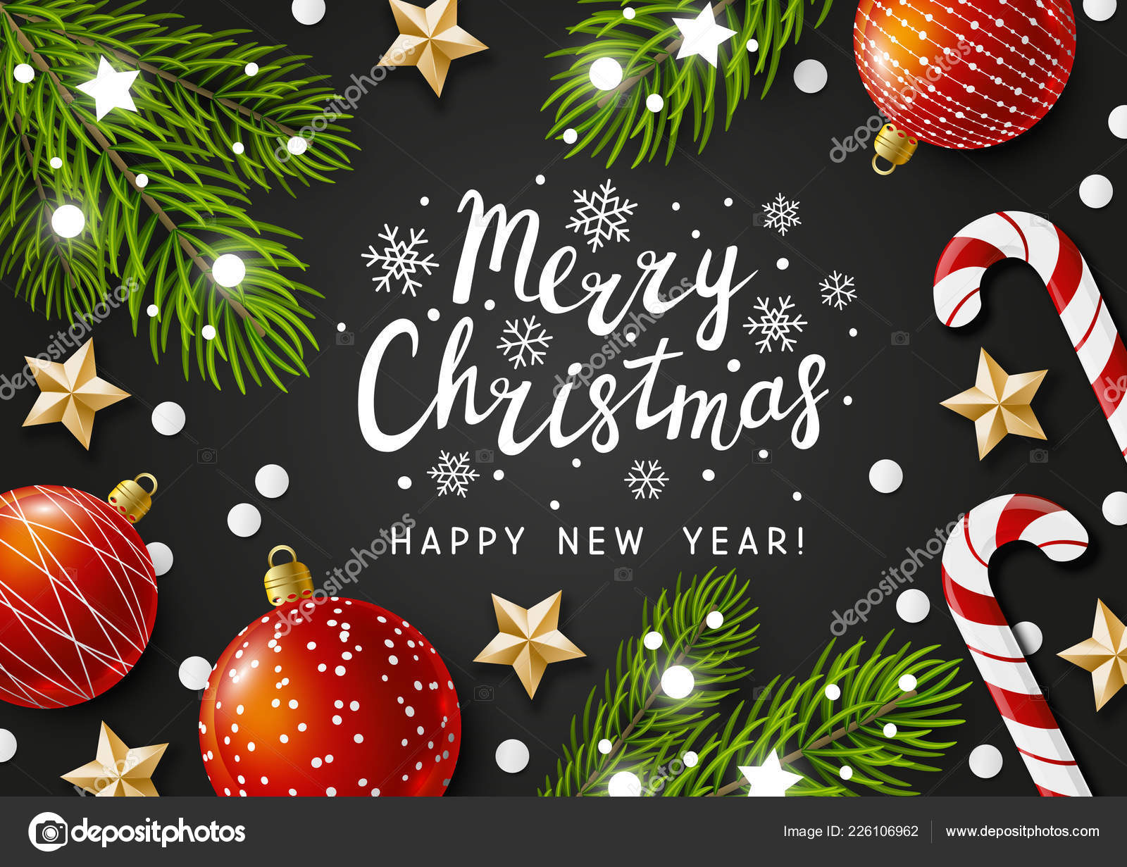 Merry Christmas Happy New Year Greeting Card Holiday ...