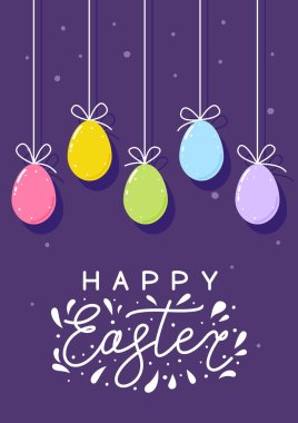 Easter greeting card with color eggs on purple background