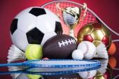 Poháry vítězové ocenění, sportovní vybavení a míčky