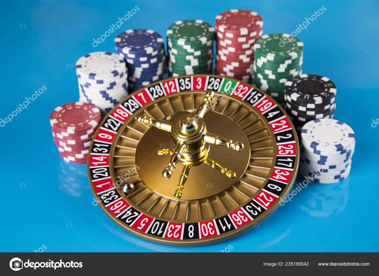 Poker Chips Gaming Table Roulette Wheel Motion Casino Background Stock Photo Image By Janpietruszka 235186542