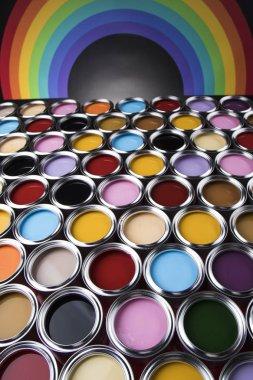 Paint cans palette, Creativity concept