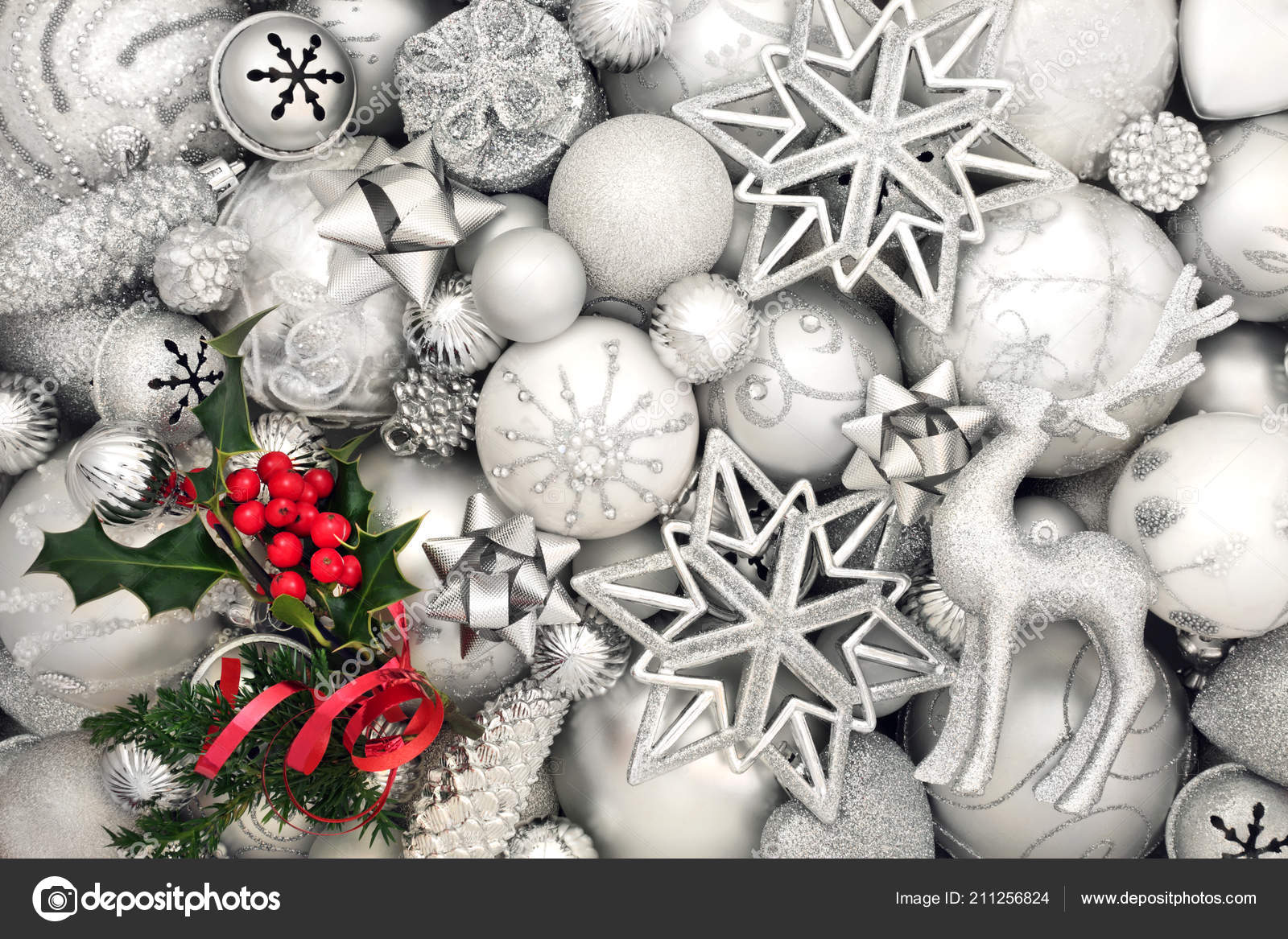 Christmas Abstract Background White Silver Baubles Holly Fir Leaf ...