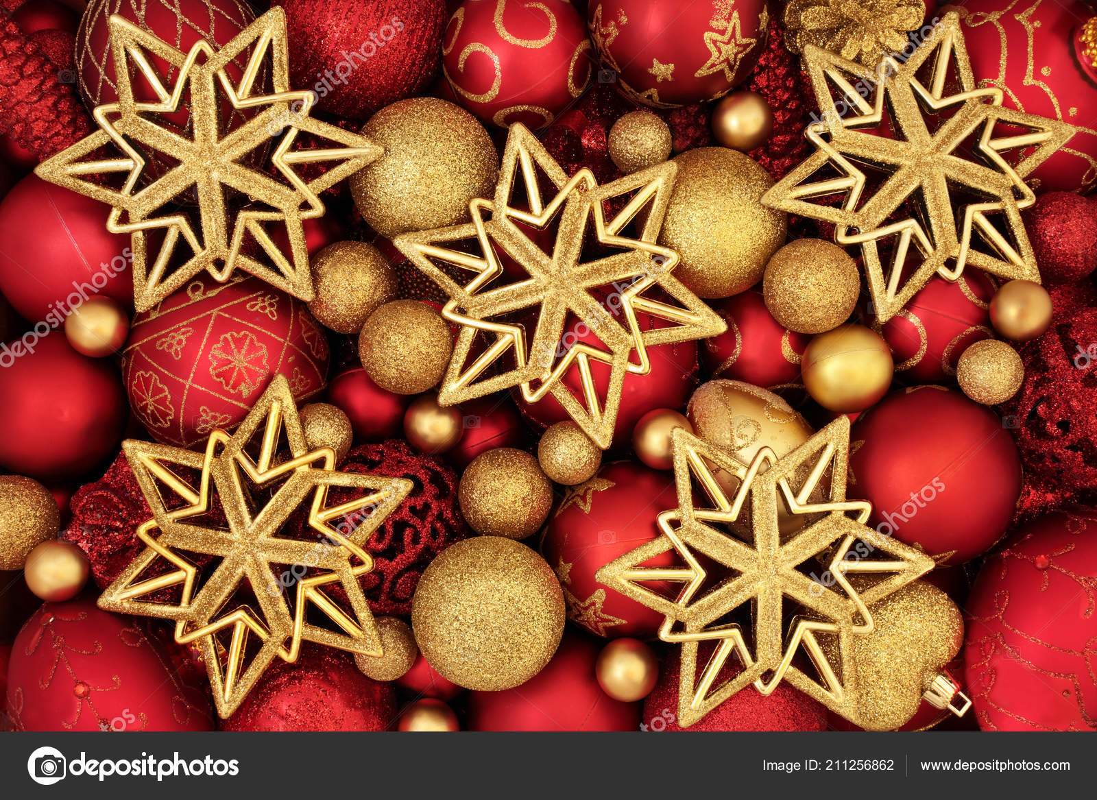 depositphotos 211256862 stock photo red christmas decorations gold balls