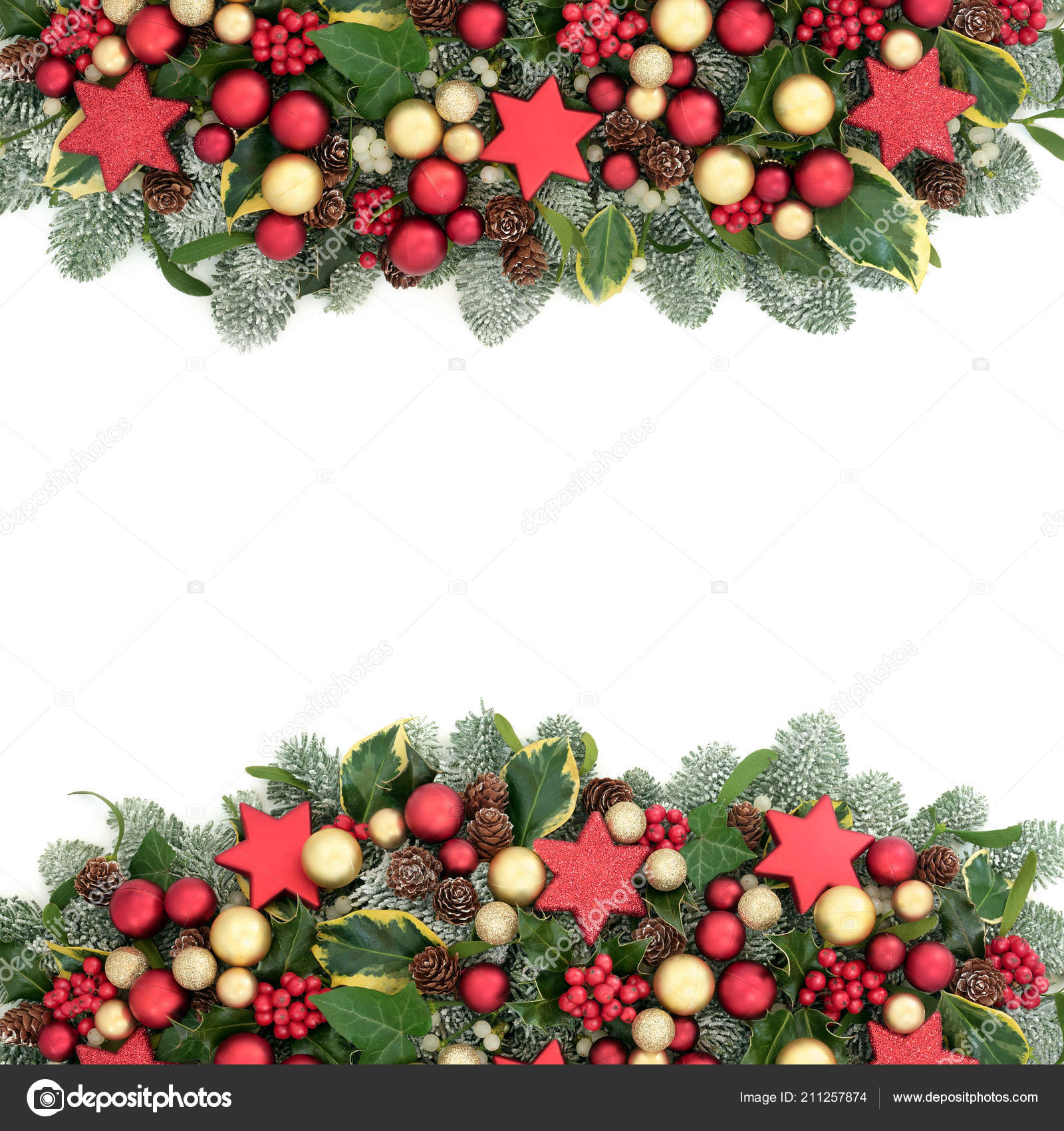 382b91630684 Christmas decorative background border with red and gold bauble decorations,  holly berries, spruce pine, ivy, pine cones and mistletoe on white with  copy ...