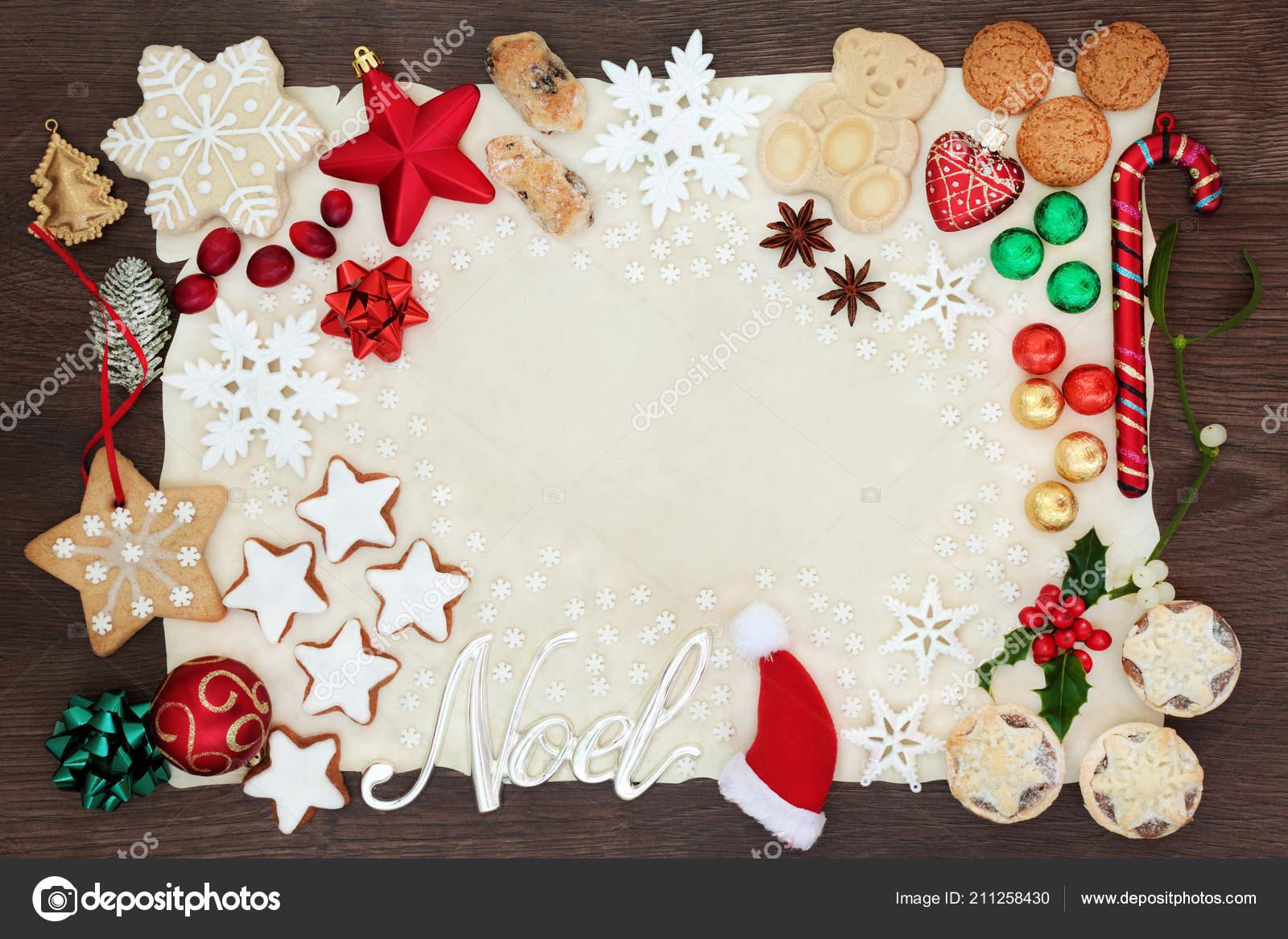 Decoration Biscuit Noel.Noel Christmas Background Border Silver Sign Tree