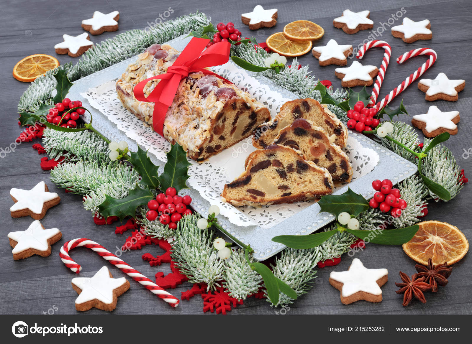 Stollen Christmas Cake Gingerbread Biscuits Winter Flora Dried Fruit