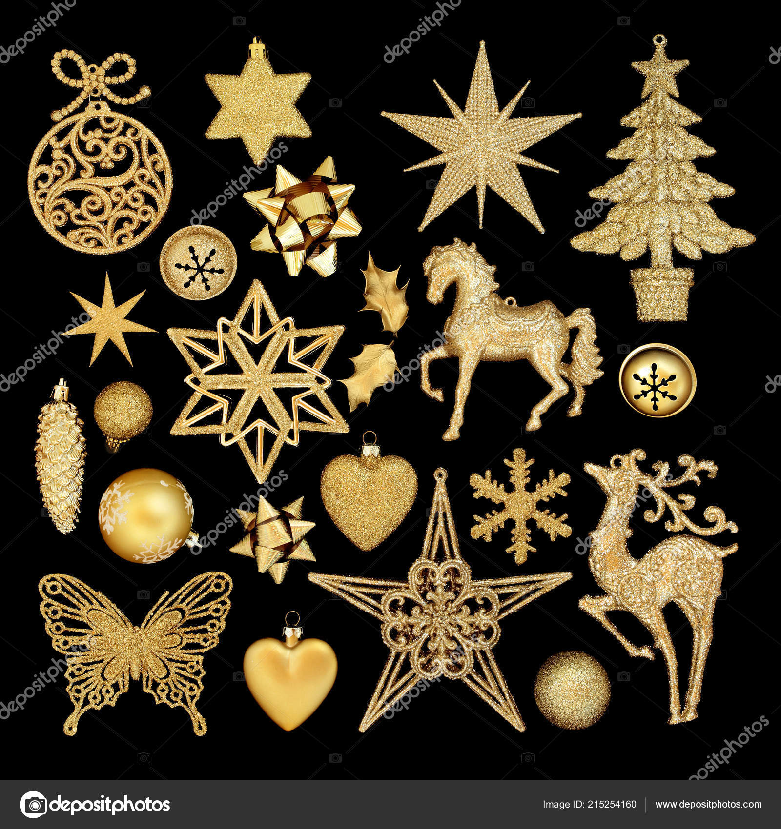 Black And Gold Christmas Baubles Gold Christmas Tree Bauble Decorations Isolated Black Background Stock Photo C Marilyna 215254160