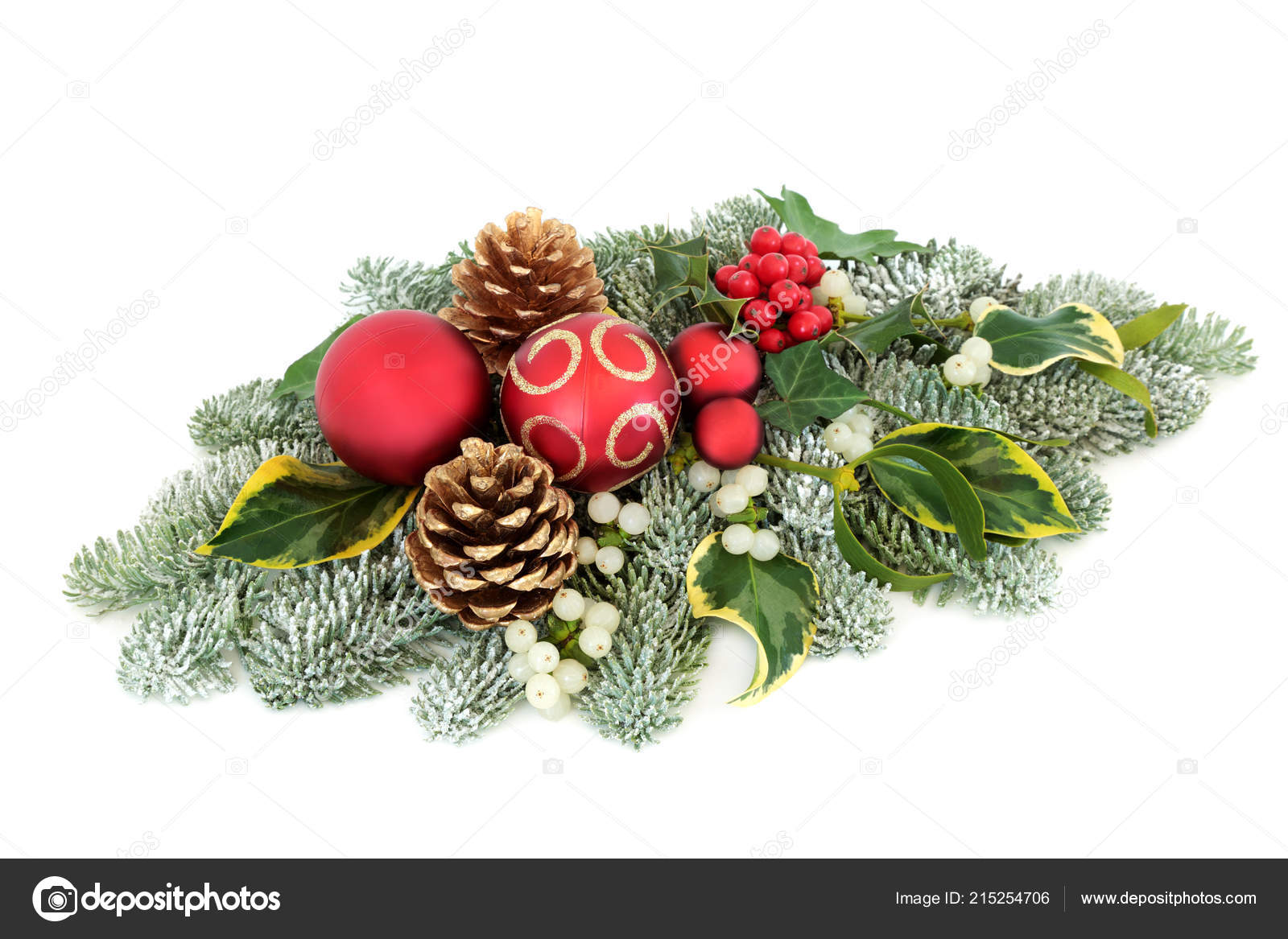 Christmas Winter Table Decoration Bauble Decorations Holly Berries