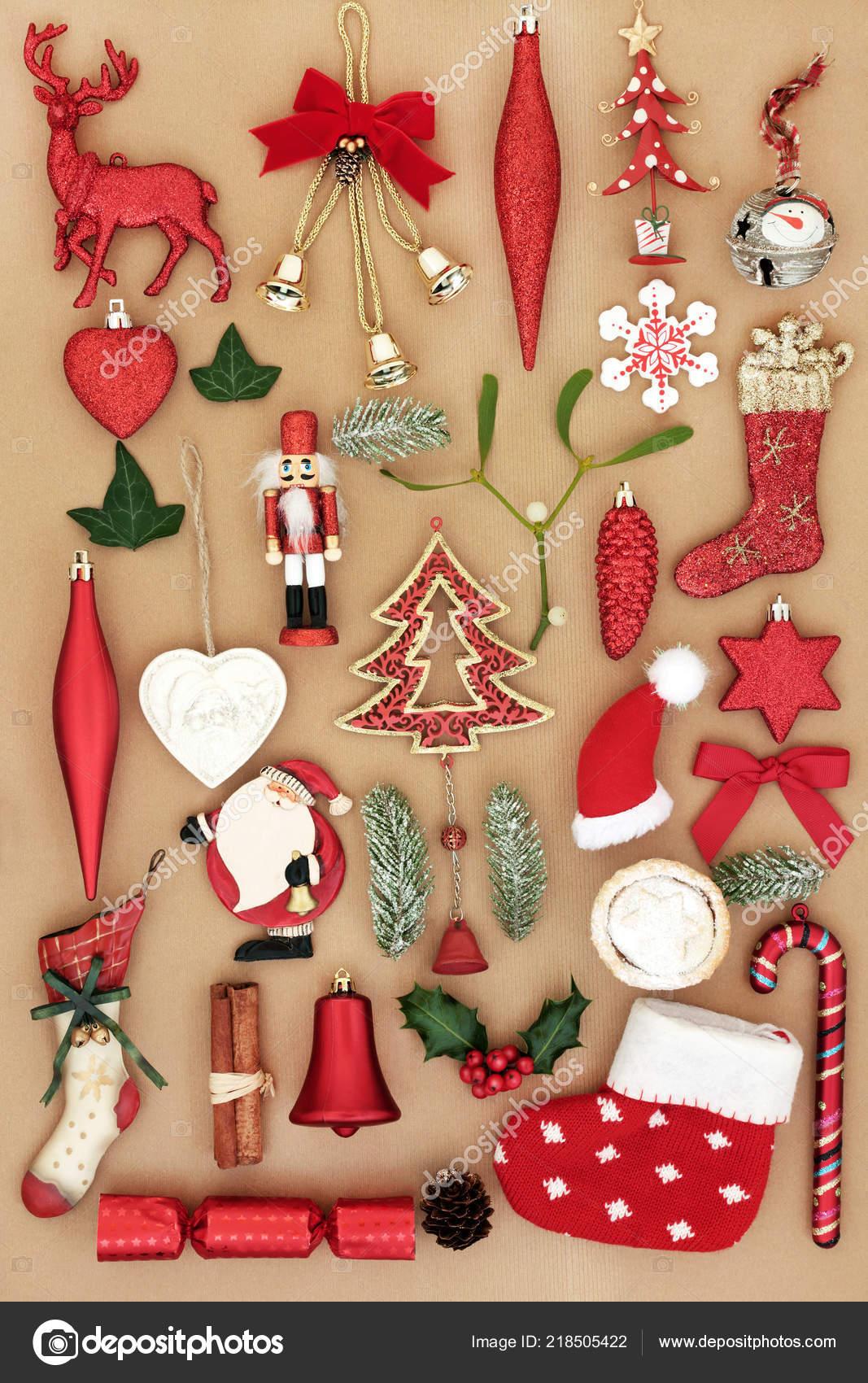 Retro Christbaumschmuck Ornamente Und Symbole Mit Holly Efeu Tanne