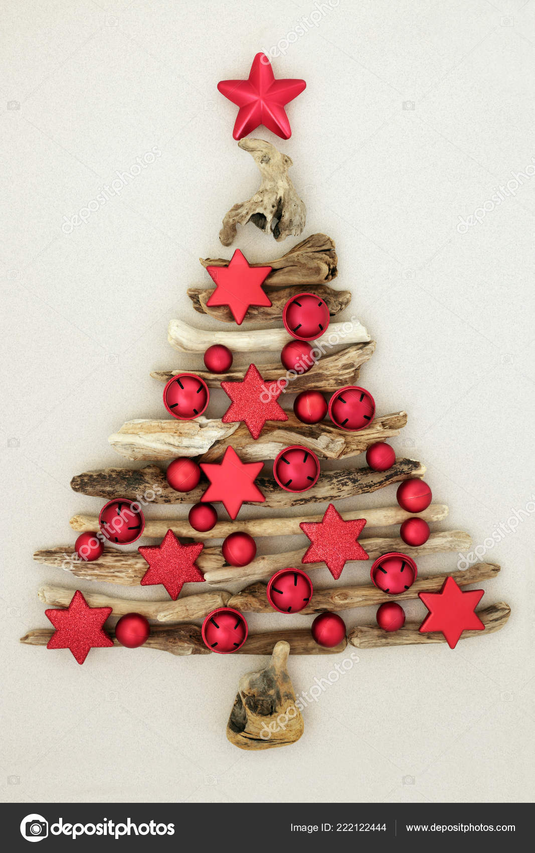 Abstract Driftwood Christmas Tree Red Bauble Star Bell Decorations Mottled Stock Photo C Marilyna 222122444