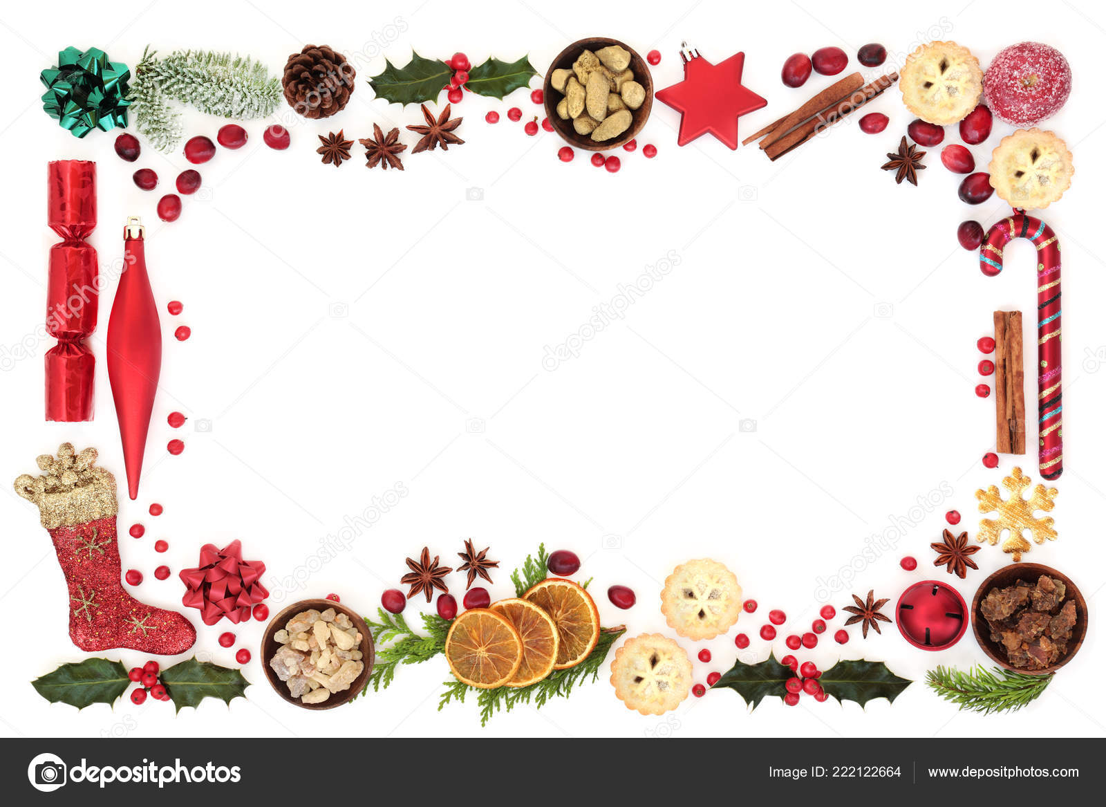 Gold Frankincense And Myrrh Christmas Gifts.Christmas Festive Background Border Decorations Food Winter