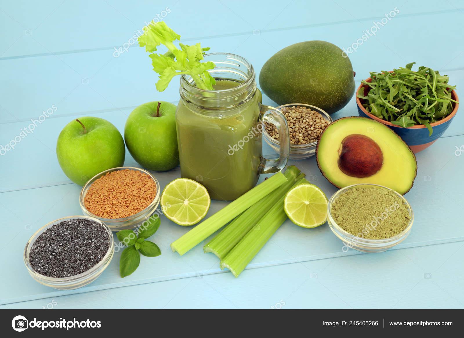 Health Food Diet Smoothie Drink Fresh Fruit Vegetables Matcha Powder Stock Photo C Marilyna 245405266