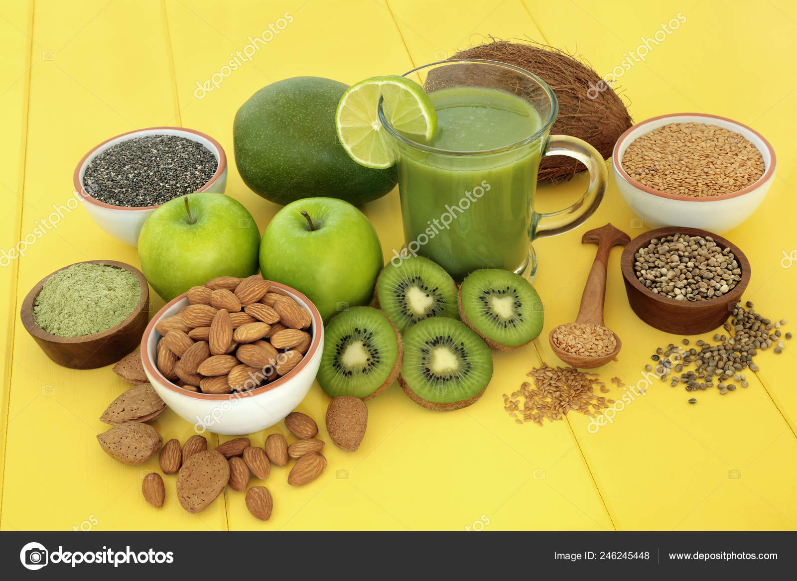 Healthy Fruit Juice Smoothie Drink Fitness Matcha Powder Almonds Flax Stock Photo C Marilyna 246245448