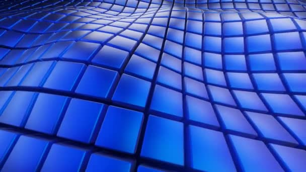 Abstract Geometric Surface Loop waving square shapes, blue squares field, technology grid pattern, random waving motion background. Seamless loop 4K UHD FullHD.