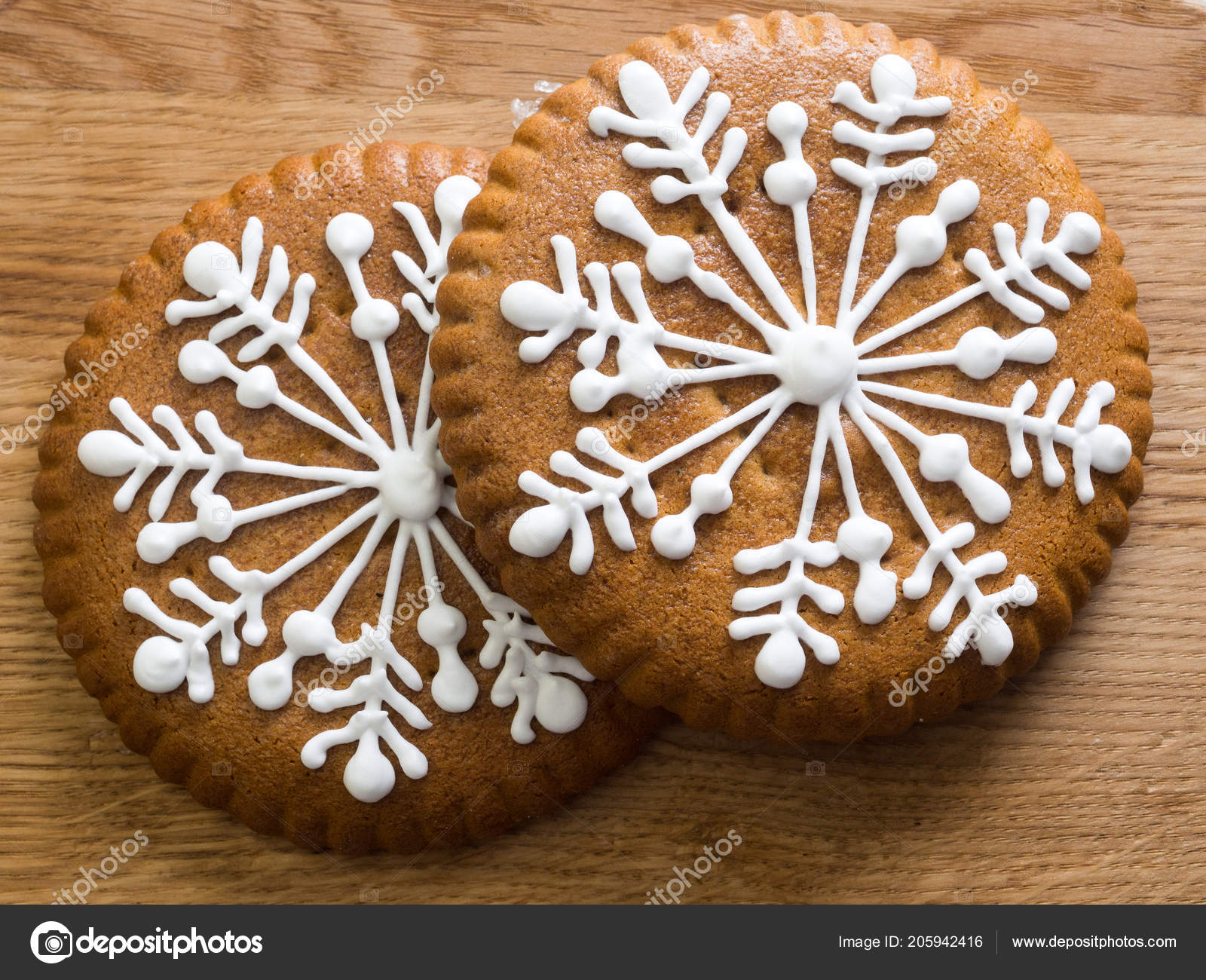 Gingerbread Snowflakes Glaze Sweets Christmas Two Sticks Wooden
