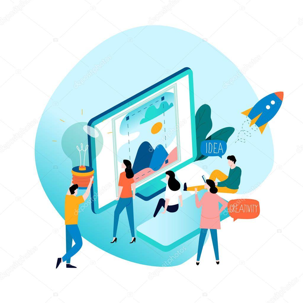 Design Studio Designing Drawing Graphic Design Education Creativity Art Ideas Flat Vector Illustration Online Courses Tutorials Brainstorming Concept For Mobile And Web Graphics Premium Vector In Adobe Illustrator Ai Ai