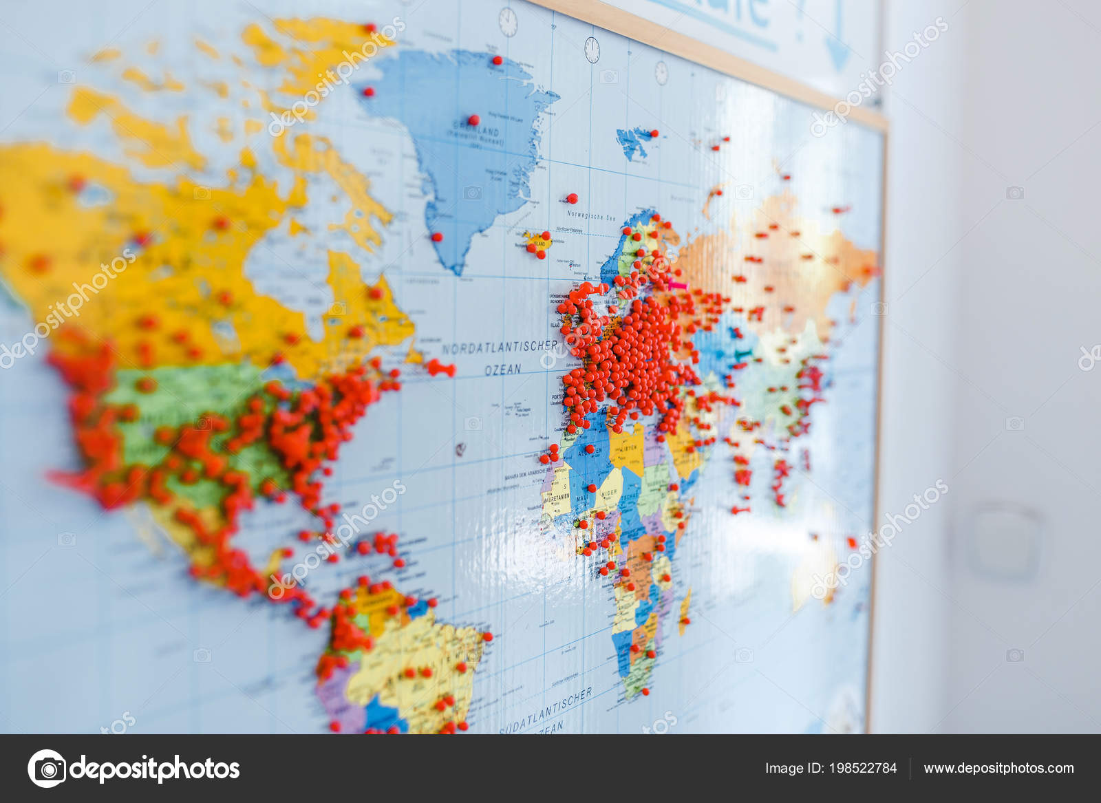 Huge Number Red Pins Europe Other Continents World Map Shallow