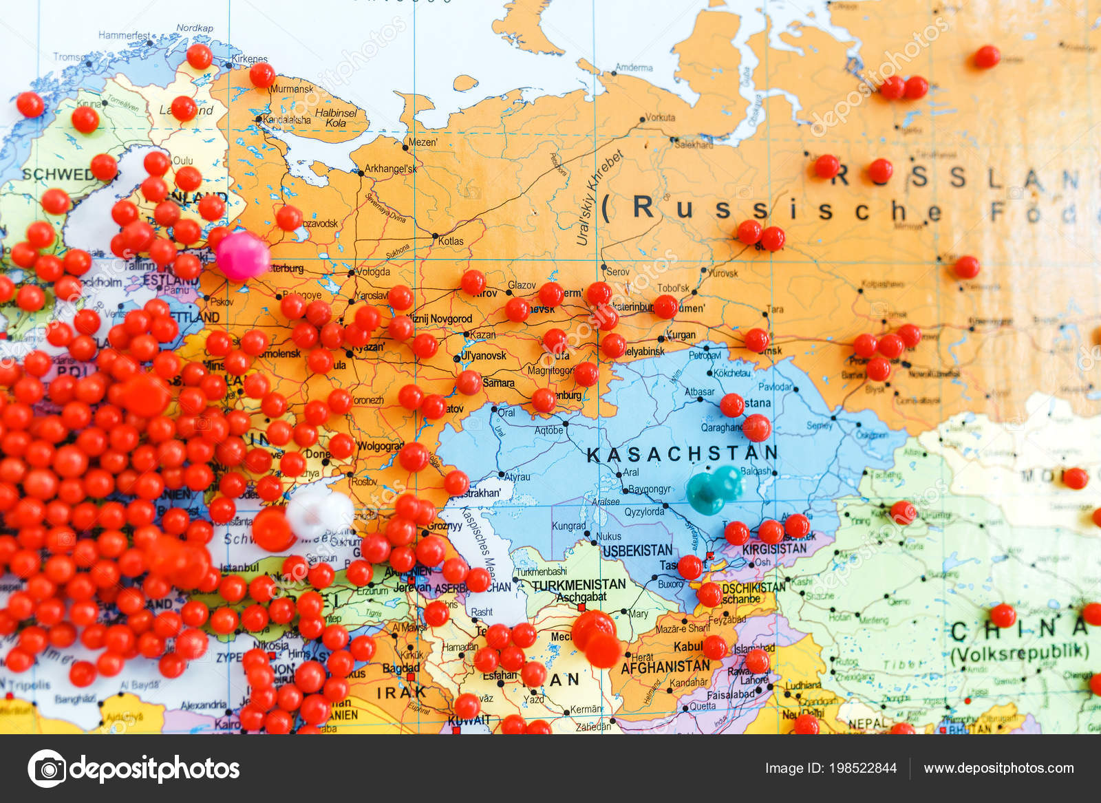 Huge Number Red Pins Europe Other Continents World Map Shallow ...