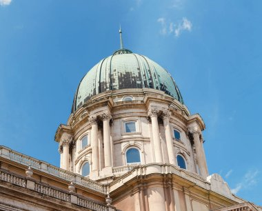 Buda castle and National Gallery dome in Budapest, Hungary