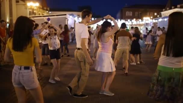 01 JULY 2018, UFA, RUSSIA: Salsa and bachata dancers at outdoor seminar and latino party