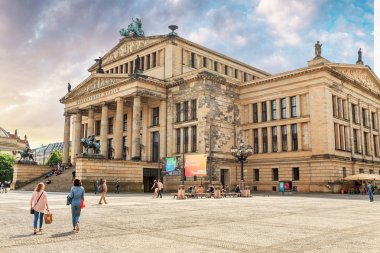 17 MAY 2018, BERLIN, GERMANY: Panoramic view of famous Gendarmenmarkt square with Berlin Concert Hall and tourists visiting the city