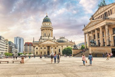 17 MAY 2018, BERLIN, GERMANY: View of famous Gendarmenmarkt square and German Cathedral Dom in historic Berlin center