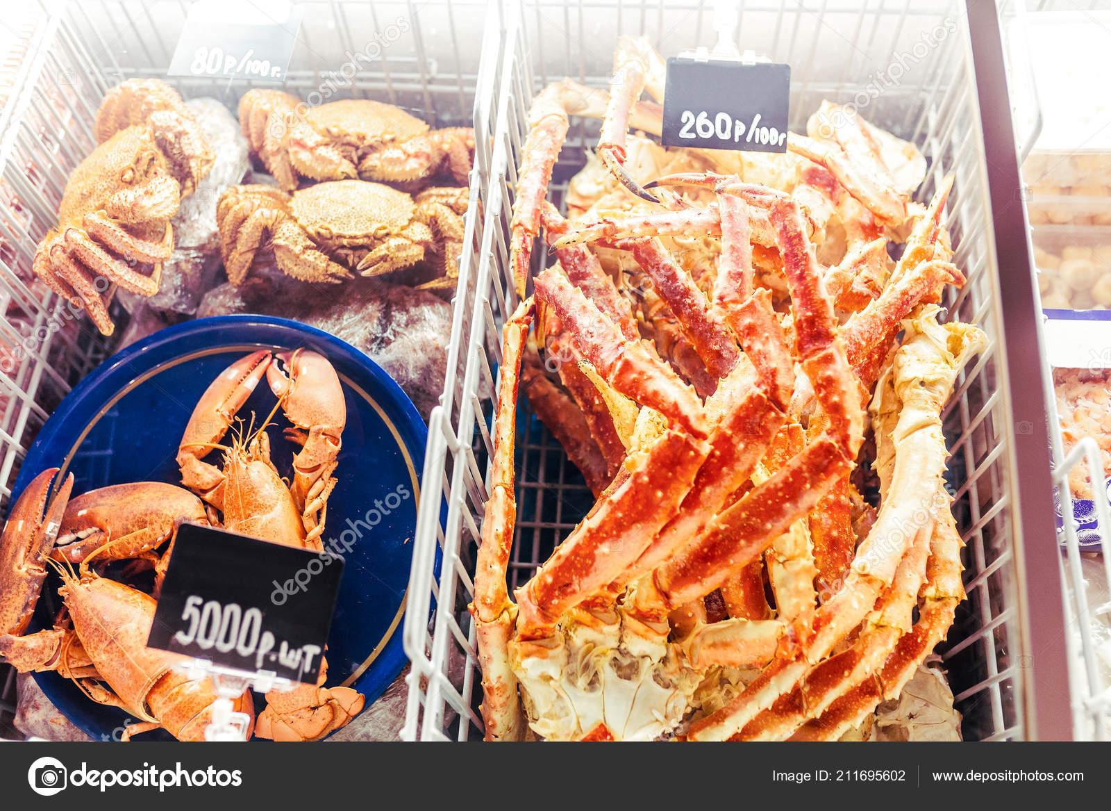 Various Seafood Delicacies Crabs Lobsters Sale Price Tags