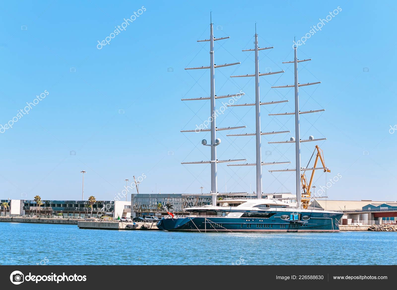 July 2018 Tarragona Spain Luxury Yacht Black Pearl Parked
