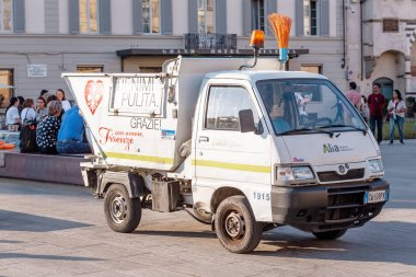 19 OCTOBER 2018, FLORENCE, ITALY: A public utility worker cleaner truck