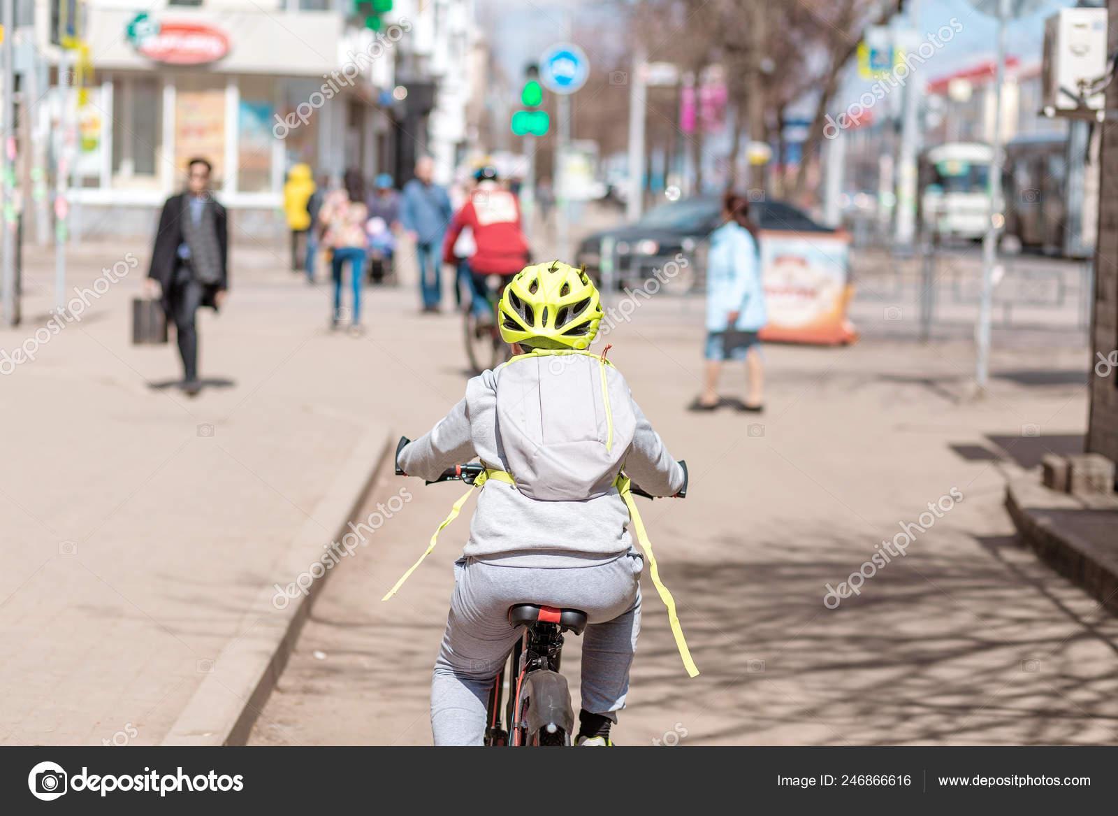 Child Boy Helmet Riding Cycle Path City Street Stock Photo C Frantic00 246866616