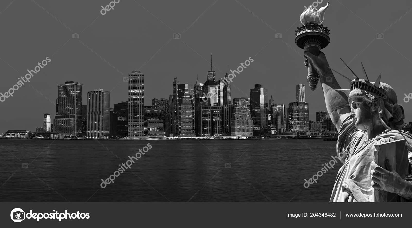 Immagine Bianco Nero Dei Simboli New York City Skyline Manhattan ...