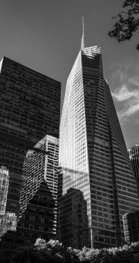 NEW YORK, USA - Jun 01, 2014: Black and white image of Manhattan modern architecture. Manhattan is the most densely populated of the five boroughs of New York City