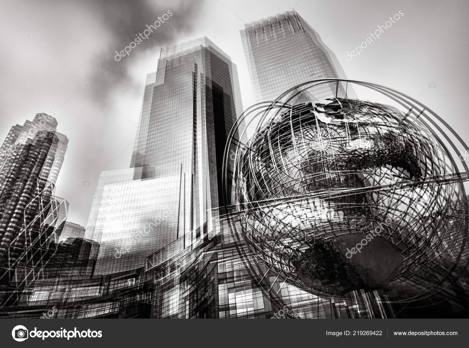 Black and white abstract image of iconic sculpture of earth in front of trump towers at columbus circle in manhattan photo by