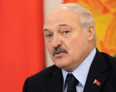 GOMEL, BELARUS - Oct. 26, 2018: President of Belarus Alexander Lukashenko during a meeting with Ukrainian President Poroshenko