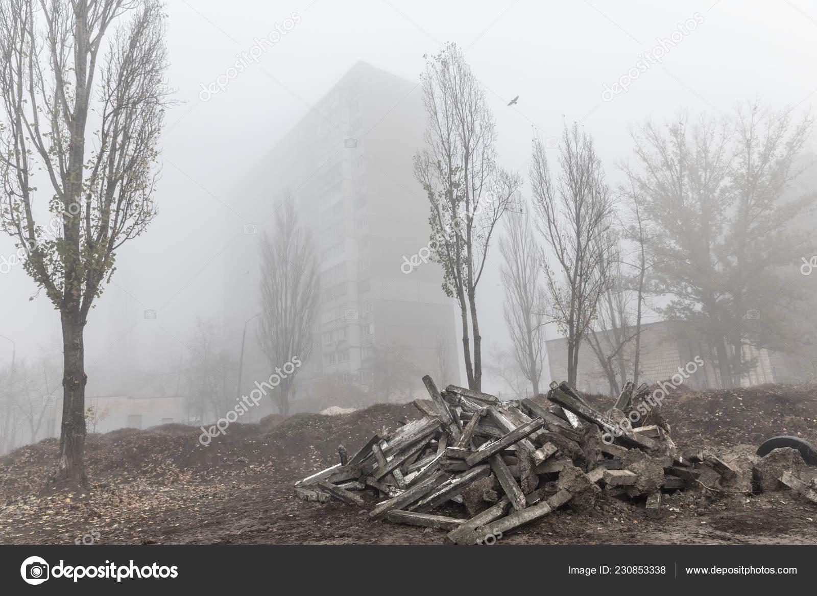 Brumosa Mañana Otoño Ciudad Concepto Ecológico Niebla Profunda ...