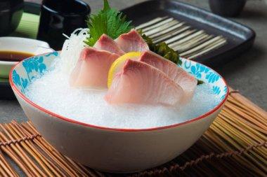 Close-up view of Greater Amberjack Kanpachi  Sashimi