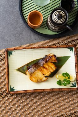 salmon teriyaki grilled with backgrounds