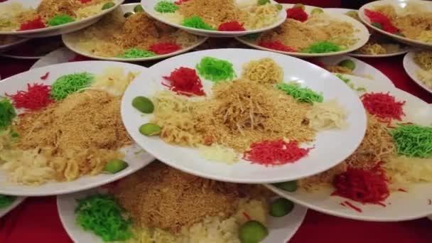 Detailní záběry desek s tradiční asijské jídlo