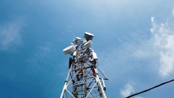 Close-up footage of antenna tower for communication