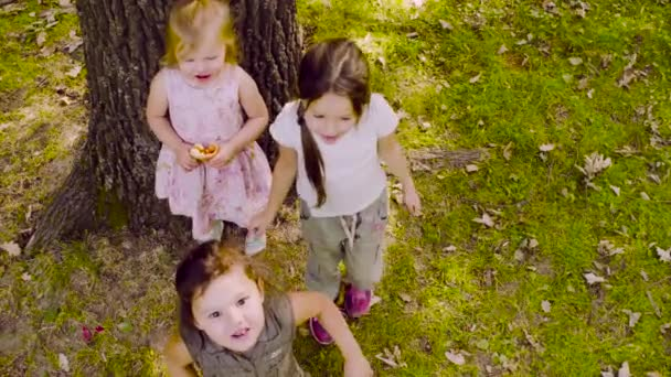 Three girls playing in the park on the grass
