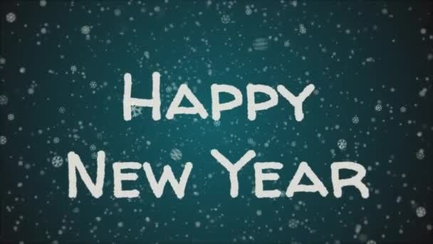 Animáció boldog új évet, esik a hó, a kék háttér