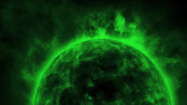 Green sun surface with heat solar waves and flames