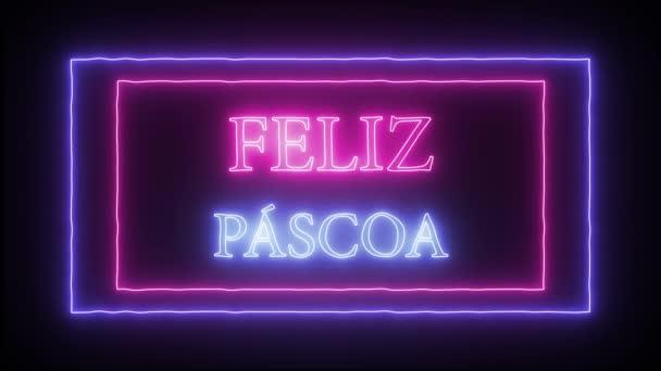 Animation Leuchtreklame feliz pascoa, frohe Ostern auf Portugiesisch