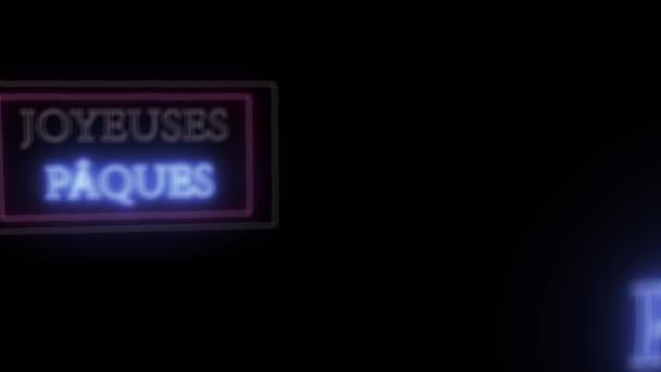 Animation Leuchtreklame joyeuses paques, frohe Ostern auf Französisch