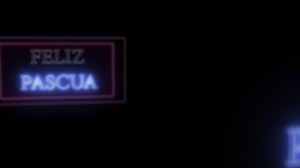 Animation Leuchtreklame feliz pascua, frohe Ostern auf Spanisch