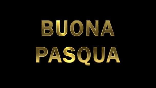 Partikel, die sich in den goldenen Buchstaben sammeln - buona pasqua