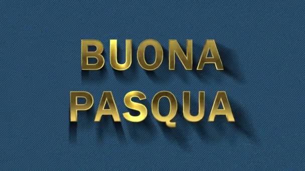 Farbige Partikel verwandeln sich in blauen Hintergrund und Text - buona pasqua